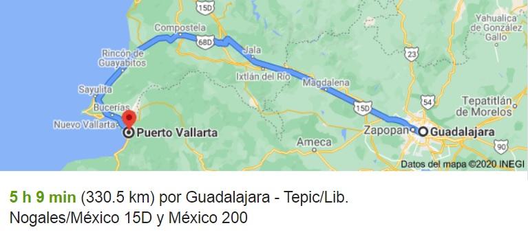 Ruta Carretera de Guadalajara a Puerto Vallarta en Mapa