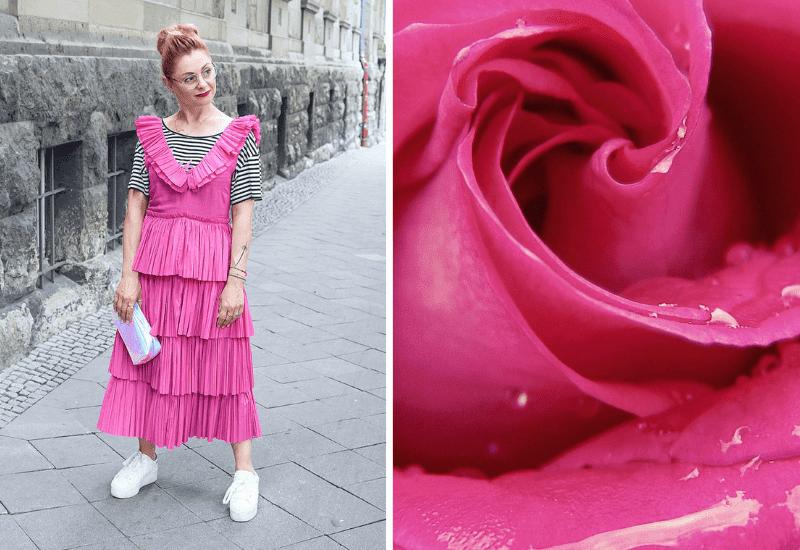 Pink-kombinieren-Kleid-mit-Volants
