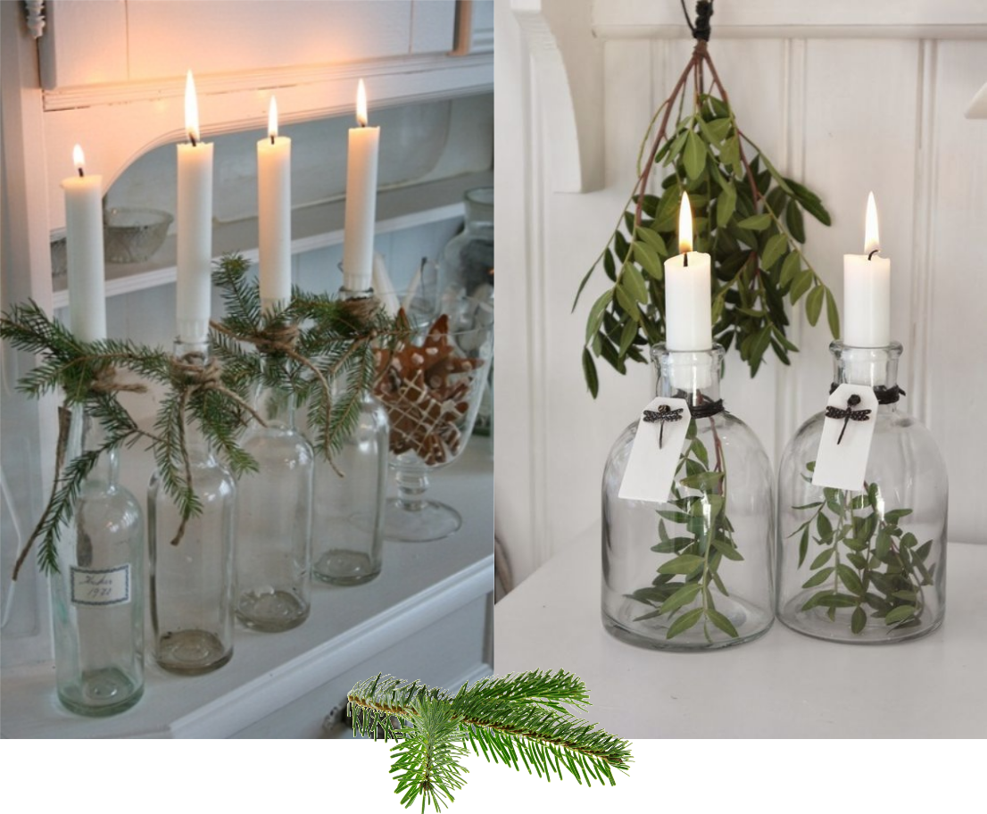 table-theme-fetes-noel-christmas-nature-feuilles-bougie-bouteille