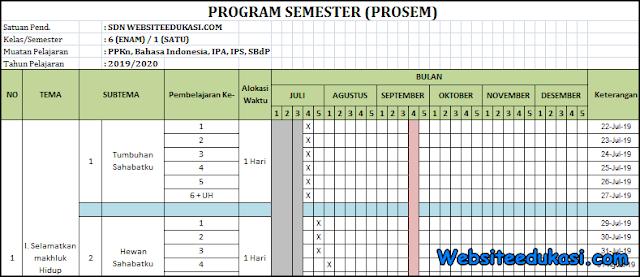 Promes Kelas 6 SD/MI Kurikulum 2013 Revisi 2019