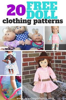 Great list of sewing patterns for the best free doll clothes patterns for dolls of all shapes and sizes.