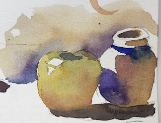 partial watercolor still life exercise on Fabriano Artistico cold press paper with Masters Touch 8 round brush