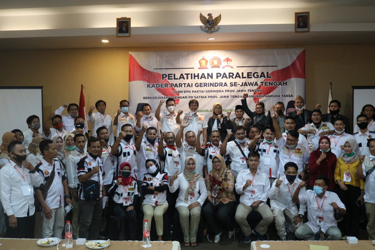 Pelatihan Paralegal Lembaga Konsultasi & Bantuan Hukum (LKBH) Garuda Yaksa | Pimpinan Daerah (PD) Satuan Relawan Indonesia Raya (SATRIA) Partai Gerindra Provinsi Jawa Tengah