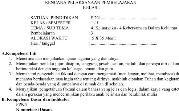 RPP Kurikulum 2013 SD Kelas 1 Revisi Tema 4 Subtema 4 Pembelajaran 3