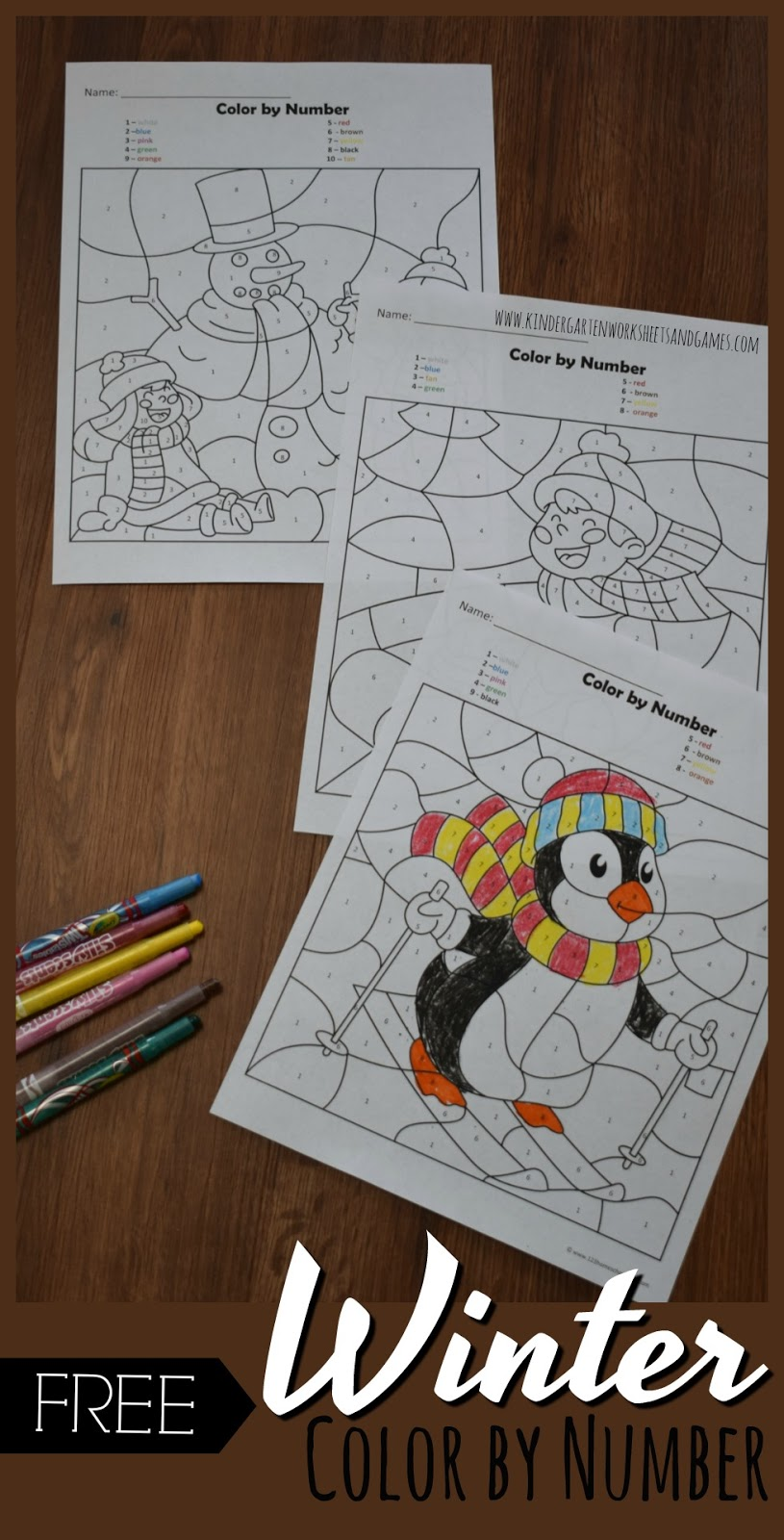 Kindergarten Worksheets and Games  FREE Winter Color by Number FREE Winter Color by Number for Kids is a fun way for toddler  preschool