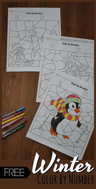 FREE Winter Color by Number - kids will have fun practicing number recognition with these free printable math worksheets for preschool, kindergarten, and first grade, Improve fine motor skills while revealing hidden pictures #colorbynumber #colorbycode #winterworksheets #mathworksheets #preschool #kindergarten