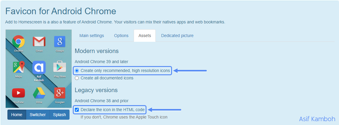 Select Create only recommended, high-resolution icons and Declare the icon in the HTML code.