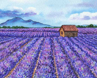 Watercolor Lavender Fields Of French Province Herb De Provence painting bestseller by Irina Sztukowski