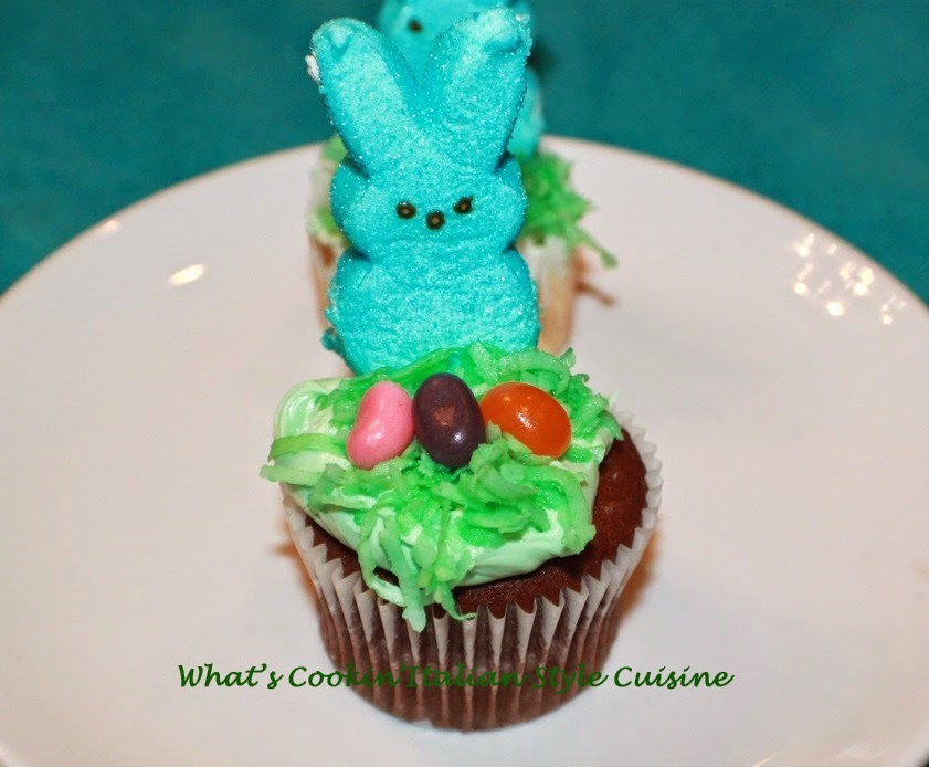 these are peeps on cupcakes, cookies and cakes and fun ideas for Easter decorating