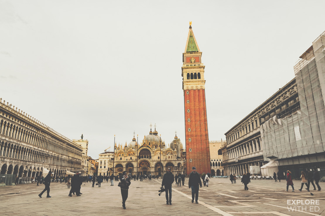 St Mark's Square in Venice with the tall bell tower and basilica