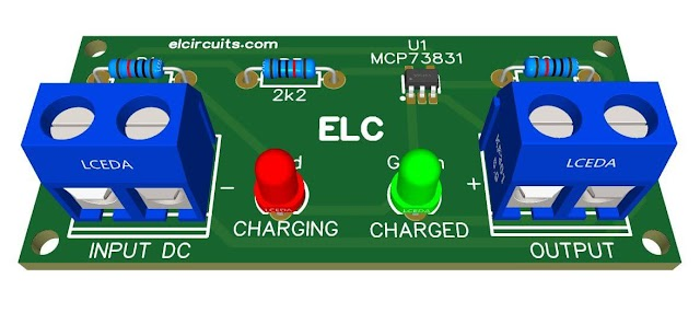 3.7V Li-Ion Battery Charger Circuit with IC MCP73831 + PCB
