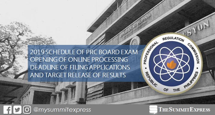 FULL LIST: 2019 PRC board exam schedule, online application, deadline of filing