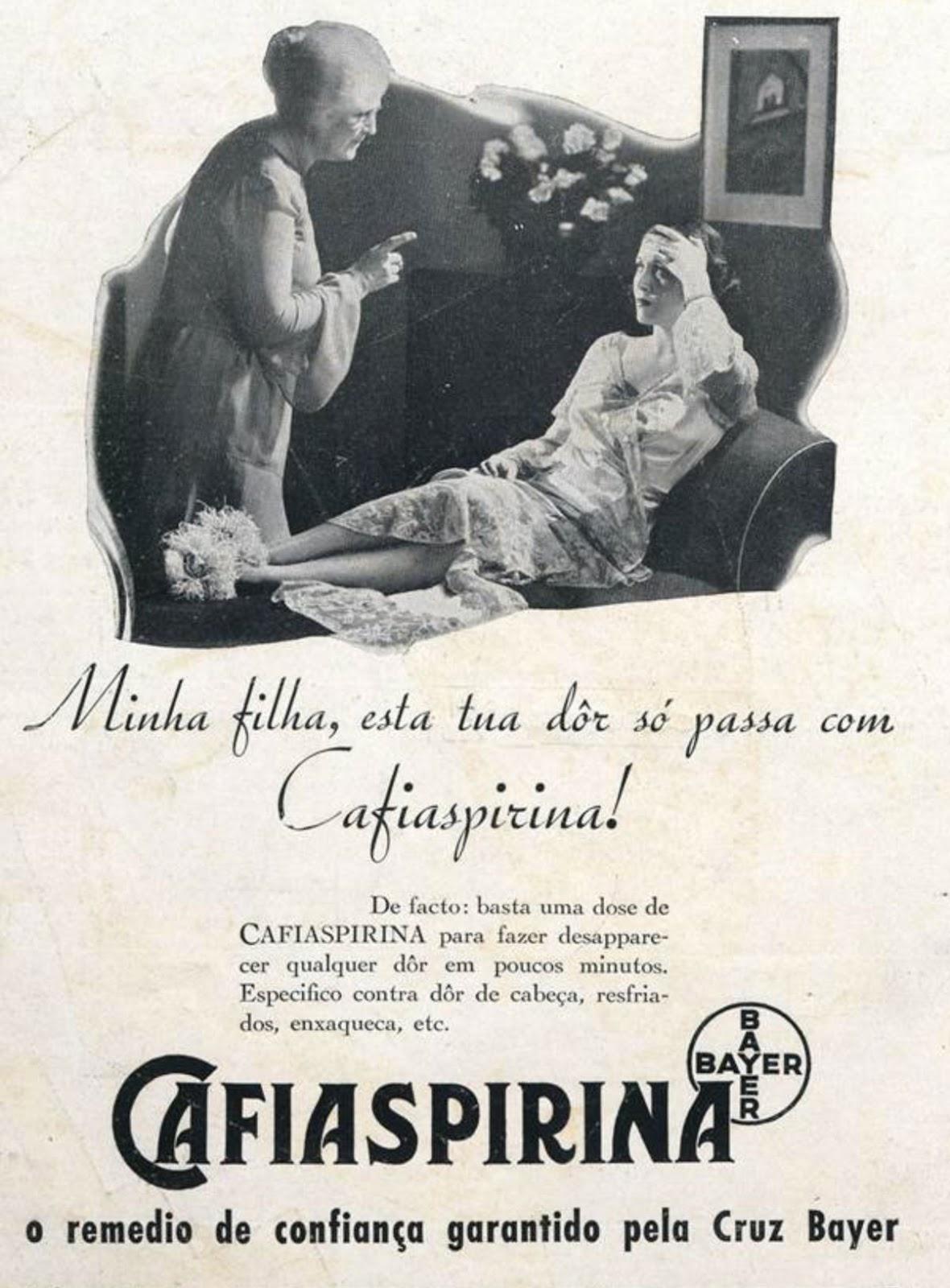 Propaganda antiga da Cafiaspirina para combater as dores. Campanha veiculada em 1934
