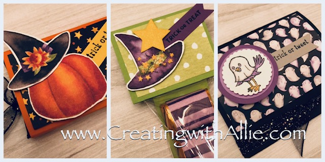 Check out the video tutorial showing you how to make three cute halloween treats using the Toil and Trouble designer series paper and the trick and tweet stamp set!  You'll love how quick and easy these are to make!  www.creatingwithallie.com #stampinup #alejandragomez #creatingwithallie #videotutorial #cardmaking #papercrafts #handmadegreetingcards #fun #creativity #makeacard #sendacard #stampingisfun #sharewhatyoulove #handmadecards #friendshipcards #halloweentreats