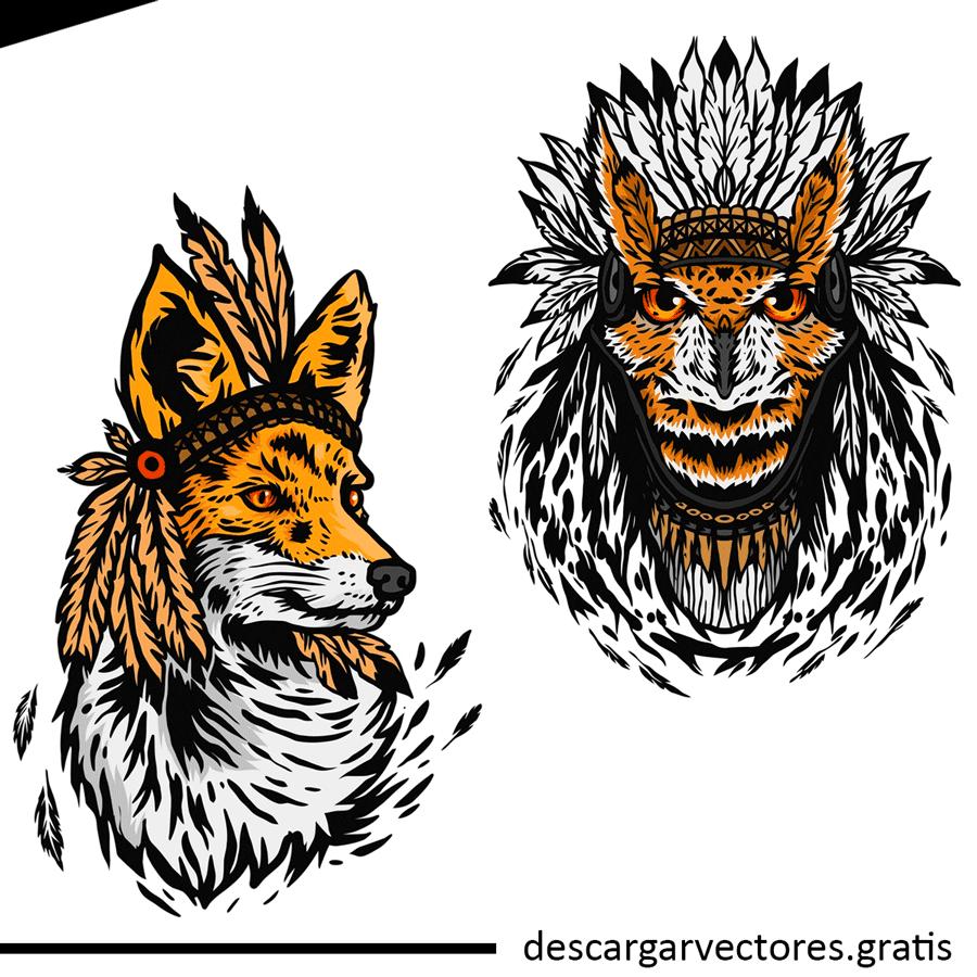 vectores de buhos y lobos