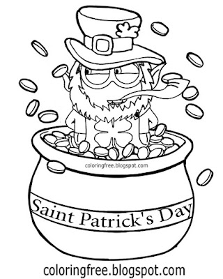 Pot of gold cartoon Minion happy St. Patrick's Day colouring pictures Irish printables for kid's art