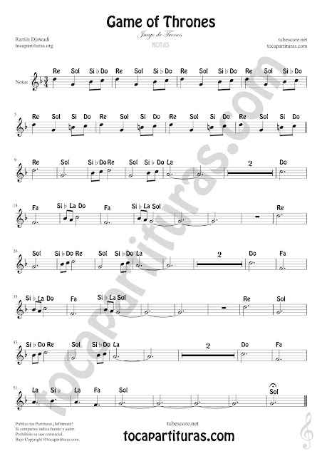 Games of Thrones (Notas Nomenclatura Inglesa) Easy Sheet Notes for Treble Clef, Violin, Saxophones, Trumpets, Flute, Recorder, Clarinet... Juego de Trono Notes
