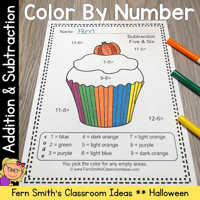 Click Here to Download this Halloween Color By Number Addition and Subtraction Printables Resource Bundle #FernSmithsClassroomIdeas
