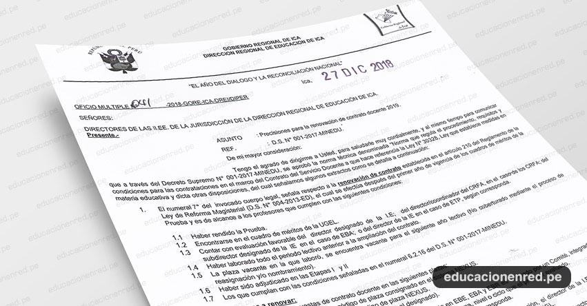 OFICIO MÚLTIPLE N° 041-2018-GORE-ICA-DREI/DIPER - Precisiones para la renovación de contrato docente 2019 - www.dreica.gob.pe