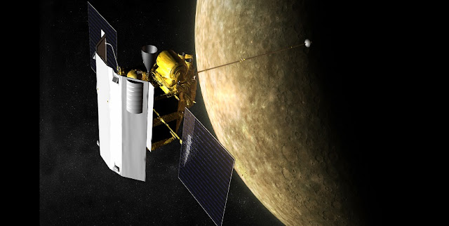 Artist's rendering of the MESSENGER spacecraft at Mercury. Credit: NASA