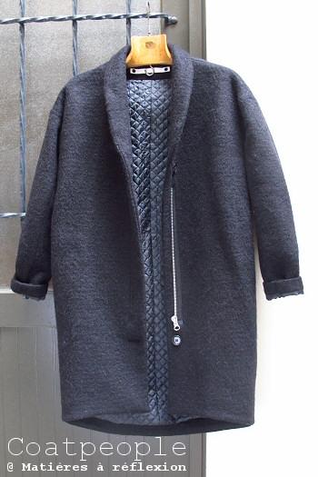 Manteau laine mohair noir Coatpeople