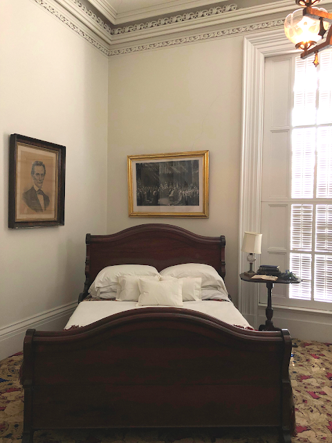 The bed Lincoln slept in inside of the Tallman House.