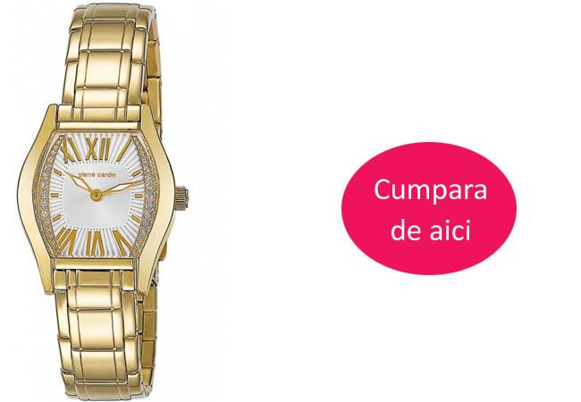 Ceas dama auriu elegant Pierre Cardin Pc Swiss Made PC104722S03 bratara metalica REDUCERE