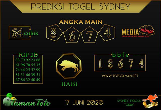 Prediksi Togel SYDNEY TAMAN TOTO 17 JUNI 2020
