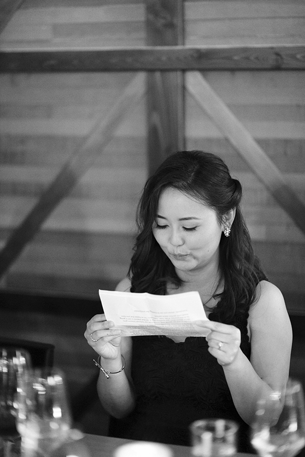 Maid of honour practicing her speech