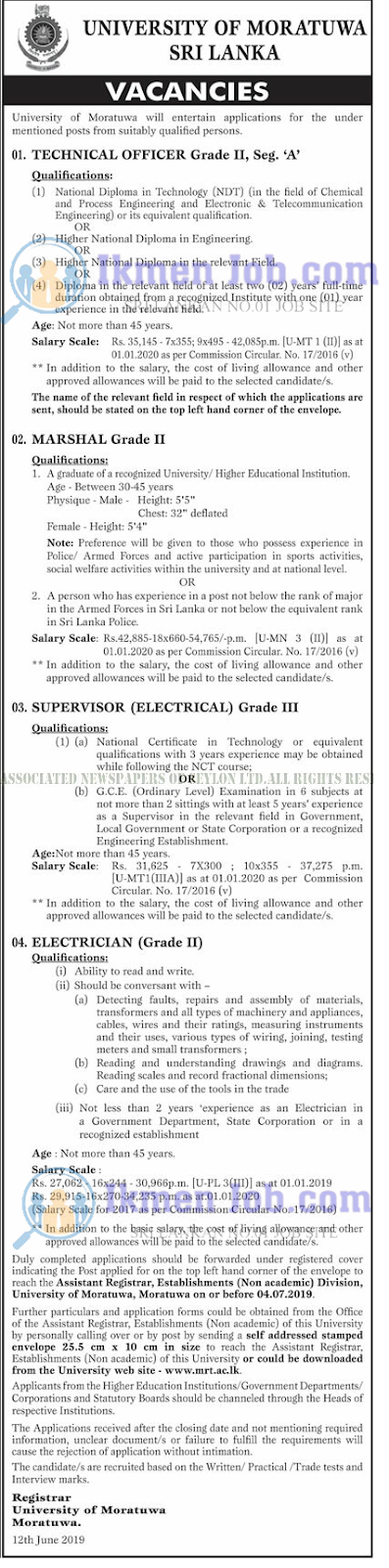 JOBS- TECHNICAL OFFICER - MARSHAL - SUPERVISOR - ELECTRICIAN - MORATUWA UNIVERSITY