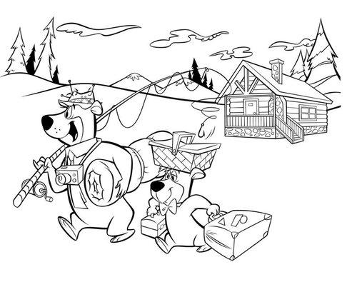 boo boo and yogi bear coloring pages   Yogi Bear And Boo Boo Coloring Pages Free For Kids ...