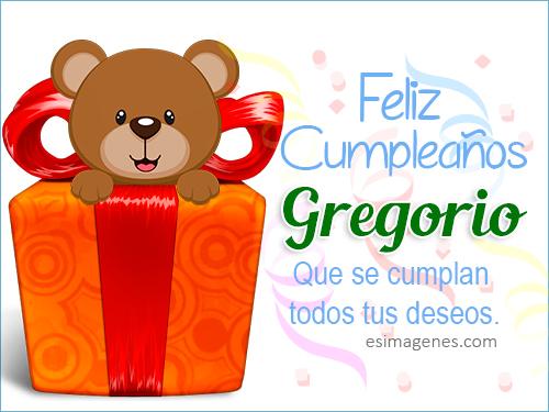 Feliz Cumpleaños Gregorio Tarjetas de Cumpleaños con Nombres