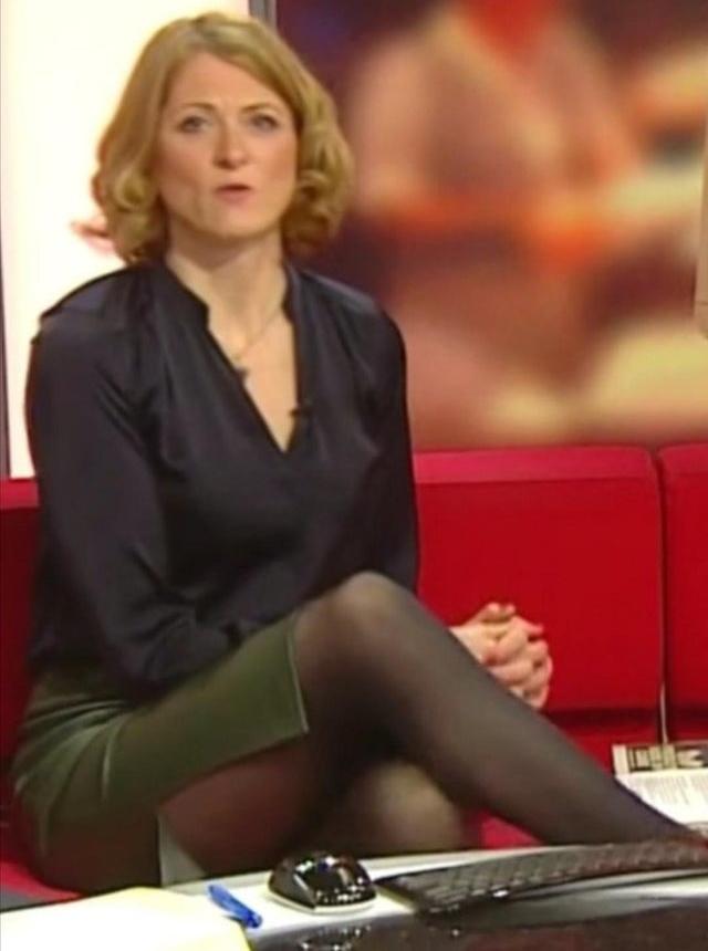 Rachel Burden in leather pencil skirts