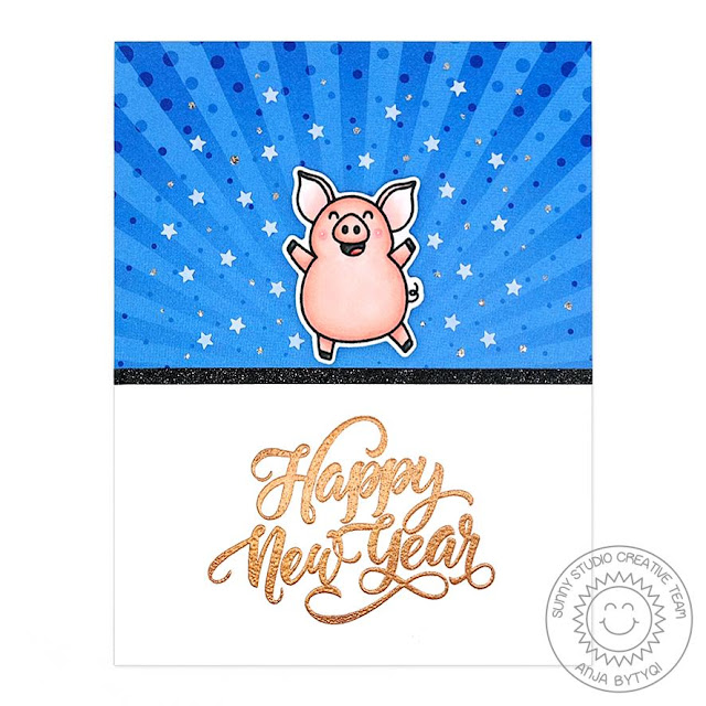 Sunny Studio Stamps: Hogs & Kisses Season's Greetings New Years Card by Anja Bytyqi