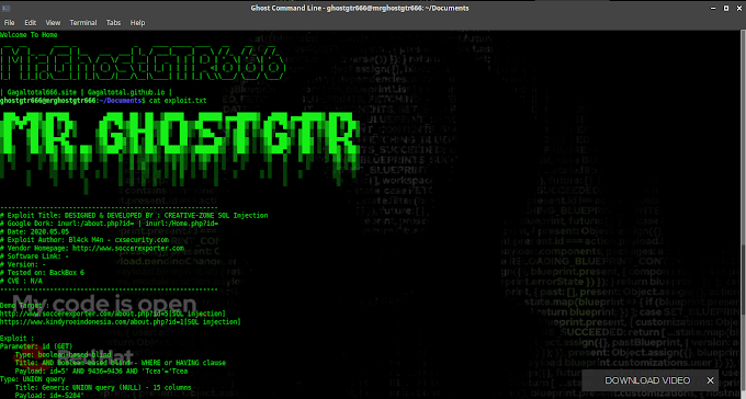 Exploit DESIGNED & DEVELOPED BY : CREATIVE-ZONE SQL Injection Tested BackBox GNU/Linux