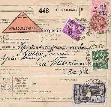 amicale philatelique et marcophile colmarienne le service des colis postaux colmar 1918 1940. Black Bedroom Furniture Sets. Home Design Ideas