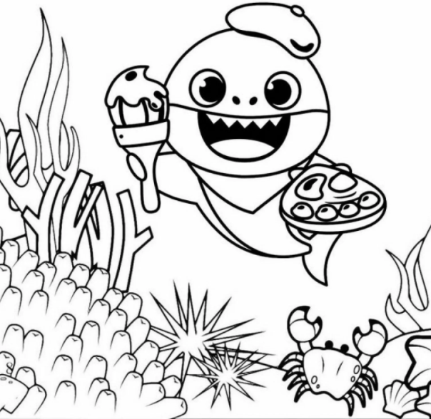 Cute Baby Shark Coloring Pages