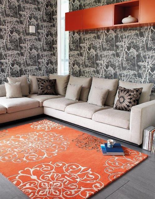 Tapis de salon 100% laine avec motif pas cher design moderne