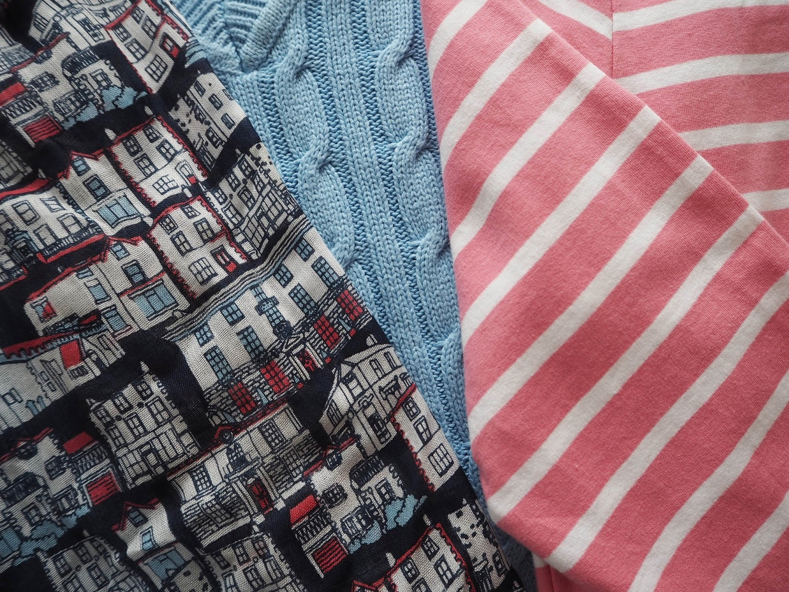 Tulchan pink and white striped top, sky blue cable jumper and Kirkby Lonsdale scarf. Capsule weekend wardrobe