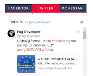 Izgled plugina za Facebook i Twitter