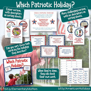 American Holidays: A Sorting game