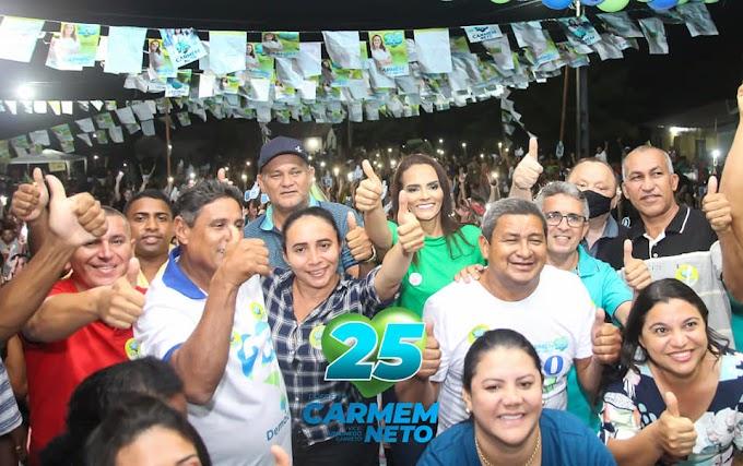 DISPARADO! Caravana de Carmem e Paulo Neto é recebida por multidão em mais um grandioso comício no Povoado Bom Sucesso