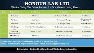 Honour Lab Ltd Hiring For Diploma / B.Tech / B.Sc/ M.Sc Graduation Candidates Manufacturing Plant Pune, Maharashtra
