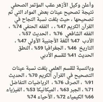 نتيجة تصحيح العينه العشوائيه للمواد التى تم تصحيحها لأمتحانات طلاب الثانويه الازهريه 2016