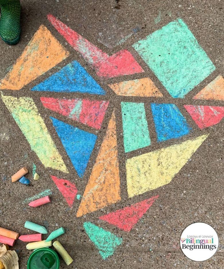 Chalk mosaic heart art