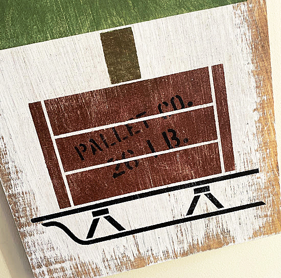 stenciled crate with crate words