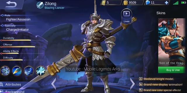 Skin Elite Zilong Blazing Lancer Mobile Legends