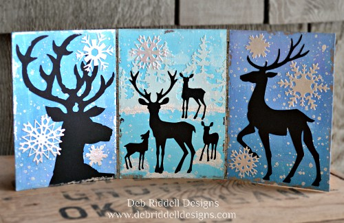 Winter Deer Triptych - Deb Riddell Designs