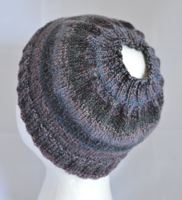 Pony tail hat, bun hat available for sale at https://www.etsy.com/shop/jeanniegrayknits