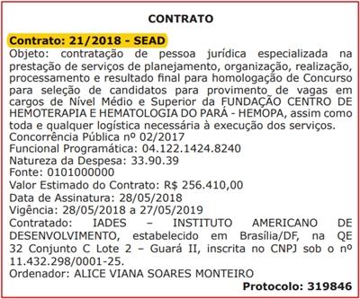 Contrato Concurso HEMOPA-PA 2018 - IADES